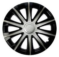 Колпаки на колеса R15 серебро + карбон, Star Maibax Super Silver (4921) - комплект (4 шт.)