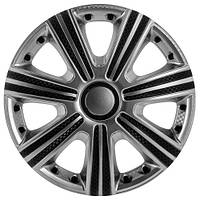 Колпаки на колеса R15 серебро + карбон, Star DTM Super Silver (3328) - комплект (4 шт.)