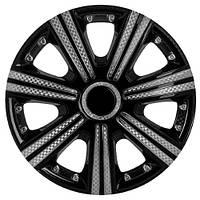 Колпаки на колеса R15 черные + карбон, Star DTM Super Black (3329) - комплект (4 шт.)