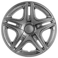 Колпаки на колеса R16 серебро + карбон, Star Dacar (2808) - комплект (4 шт.)