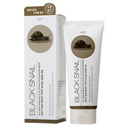 Пилинг-гель премиум класса с муцином улитки Jigott Premium Facial Black Snail Peeling Gel, 180 мл