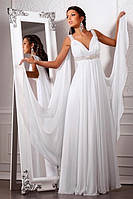 Прокат 1900 грн. Свадебное платье «Царица Греции» из шифона, отделанное бисером, стразами и кружевом