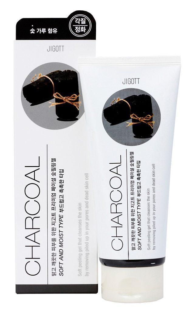 Пилинг-гель премиум класса с черным углем  Jigott Premium Facial Charcoal peeling Gel, 180 мл
