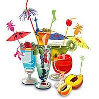 Трубочки, зонтики, украшения для стаканов