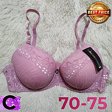 Бюстгальтер на поролоне нежно розовый кружевной женский лифчик чашка (C) 70~75 на 2 крючка 1029