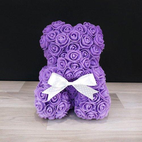 Подарочная игрушка мишка из роз, фиолетовый