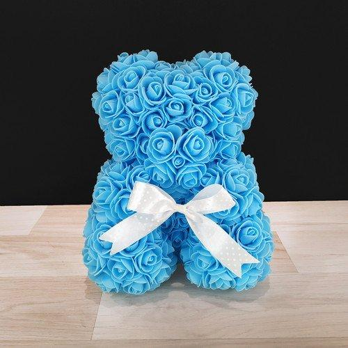 Подарочная игрушка, мишка из роз, голубой