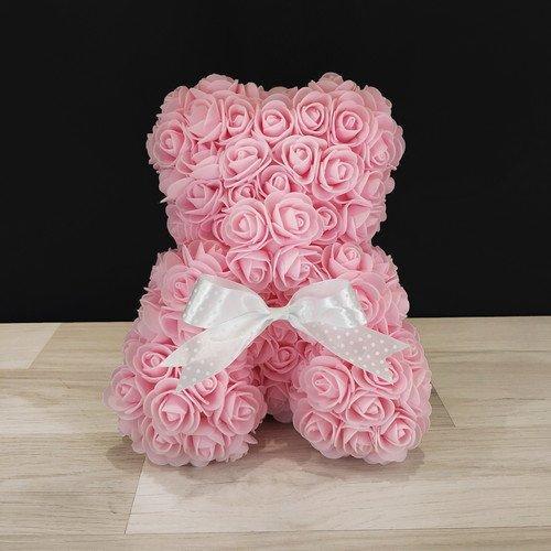 Подарочная игрушка, мишка из роз, розовый
