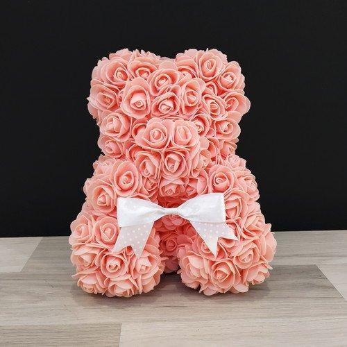 Подарочная игрушка, мишка из роз, коралловый