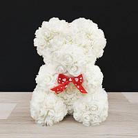 Подарочная игрушка, мишка из роз, белый