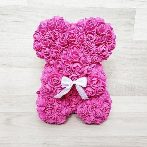 Подарочная игрушка мишка из роз, малиновый
