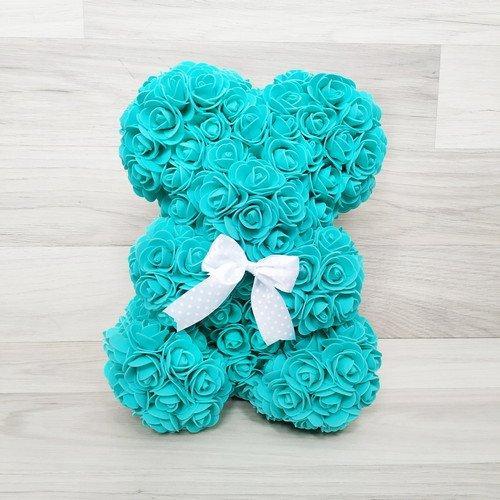 Подарочная игрушка, мишка из роз, тиффани