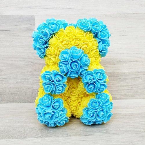 Подарочная игрушка, мишка из роз, желто-голубой