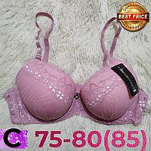 Бюстгальтер на поролоне нежно розовый кружевной женский лифчик чашка (C) 75~80(85) на 2 крючка 1029
