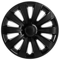 Колпаки на колеса R16 черные + карбон, Star Carat Black (2816) - комплект (4 шт.)