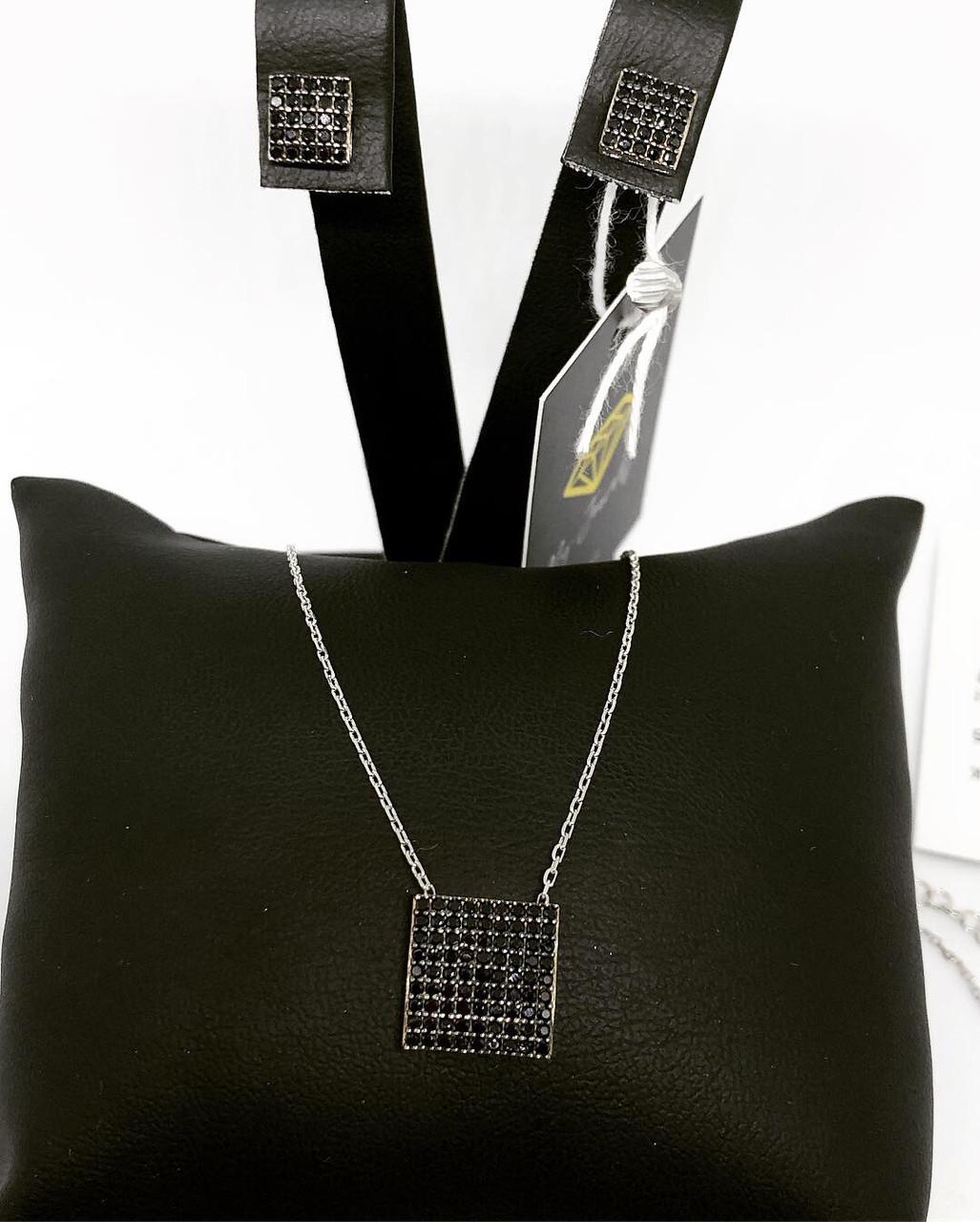 Набір прикрас з срібла 925 (сережки і кулон квадратної форми) чорні камені Swarovski
