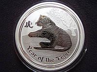 "Серебряная монета Австралия, 1 доллар ""Год Тигра"" 2010 года, 999, (UNC)"