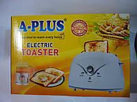 Тостер бытовой а-плюс 2032, регулятор степени поджаристости, функции разогрева и разморозки, на 2 тоста, 750вт