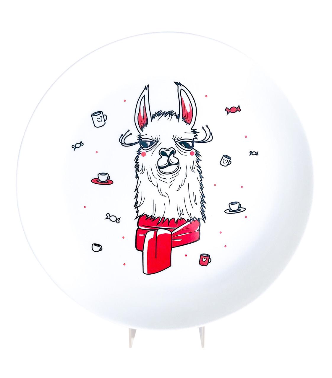"""Дизайнерская тарелка """"Лама в Шарфе"""" оригинальный подарок"""