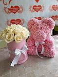 Мишко з фоамирановых 3D троянд з бантом, висота 25 див., фото 2