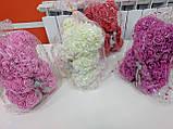 Мишко з фоамирановых 3D троянд з бантом, висота 25 див., фото 8