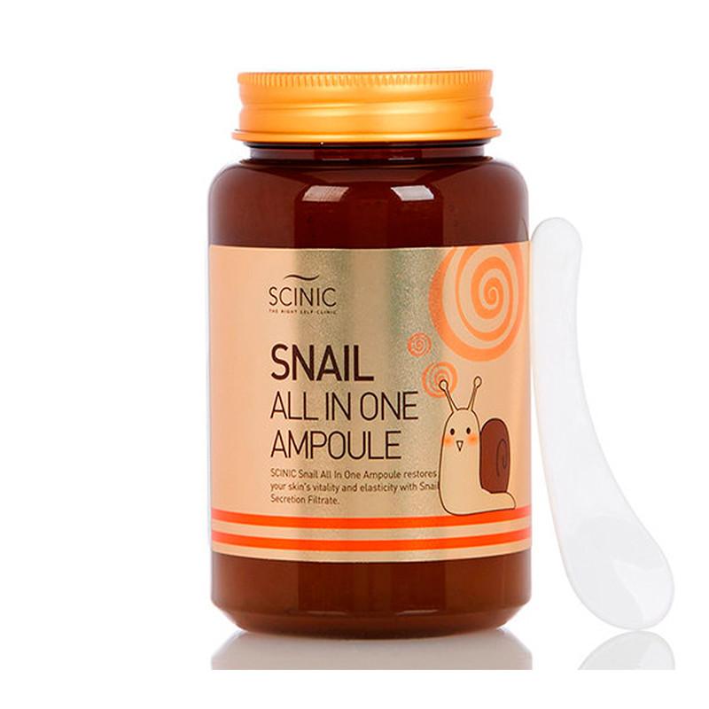 Многофункциональная сыворотка с муцином улитки Scinic Snail All In One Ampoule  250 мл