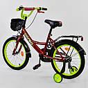 """Дитячий двоколісний велосипед бордовий, додаткові колеса, ручне гальмо Corso 18"""" дітям 5-7 років, фото 2"""