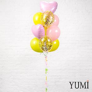 Яркий фонтан из 10 шариков с гелием , фото 2