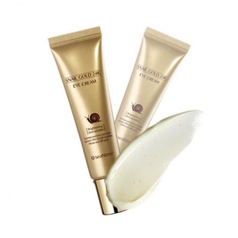 Антивозрастной крем для глаз с муцином слизи улитки и коллоидным золотом SeaNtree Snail Gold 24K Eye Cream