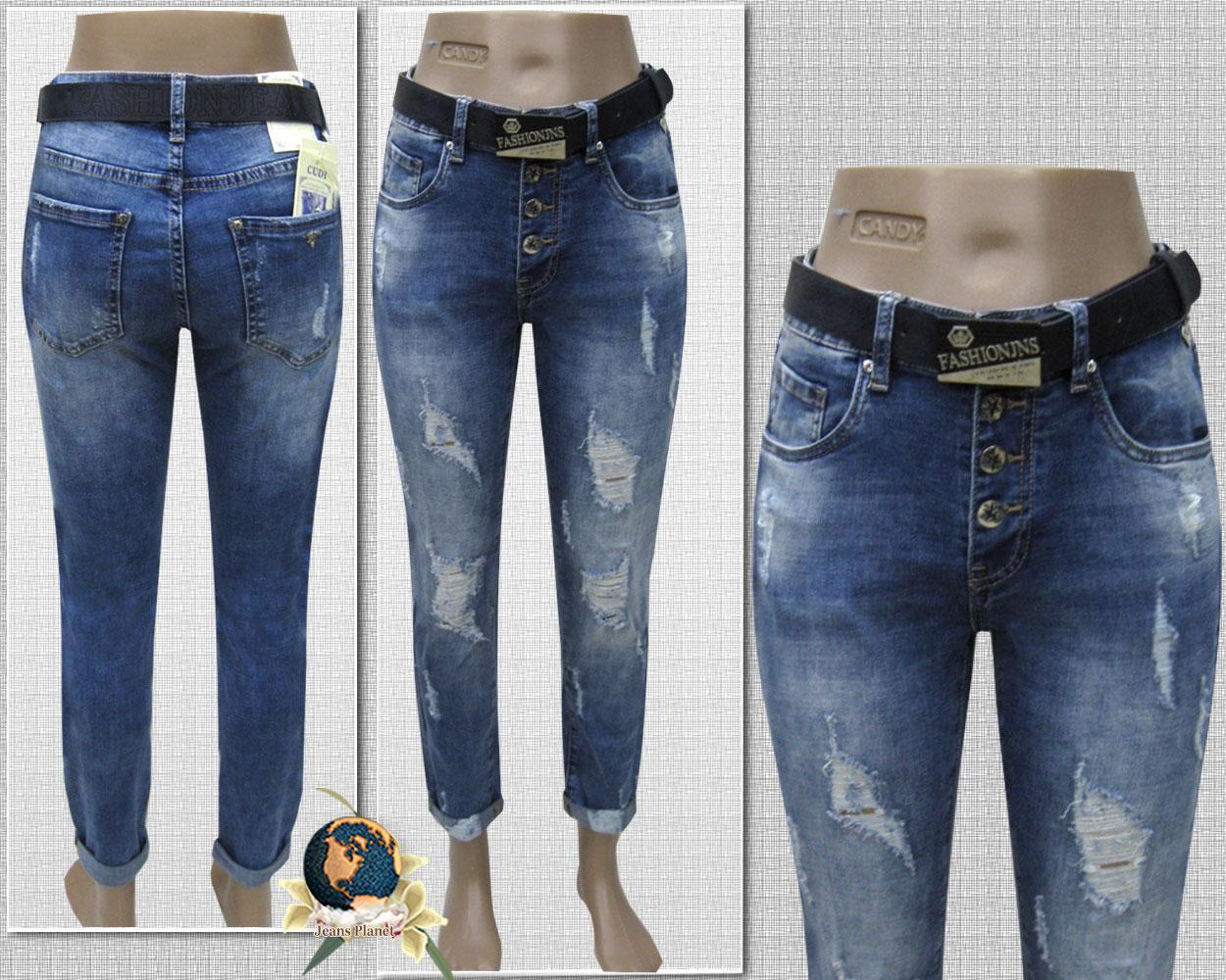 Модні жіночі джинси бойфренди рвані на гудзиках з ременем