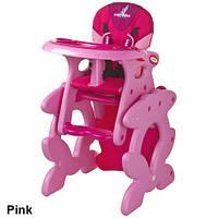 Стульчик трансформер для кормления Caretero Primus Pink