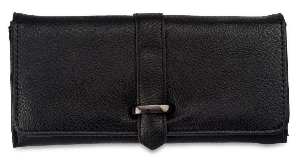Вместительный женский кошелёк чёрного цвета пр. Польша PS100