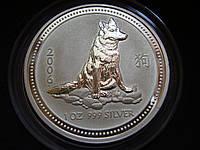 """Серебряная монета Австралия, 1 доллар """"Год Собаки"""" 2006 года, 999,(UNC)"""