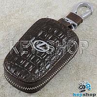 Ключница карманная (кожаная, коричневая, с тиснением, с карабином, с кольцом), логотип авто Lexus (Лексус)