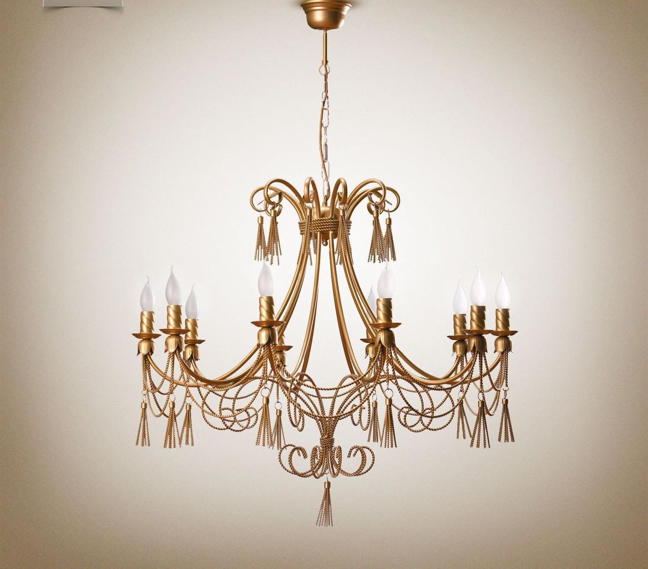 Люстра классическая со свечами и кисточками в большую комнату 1310