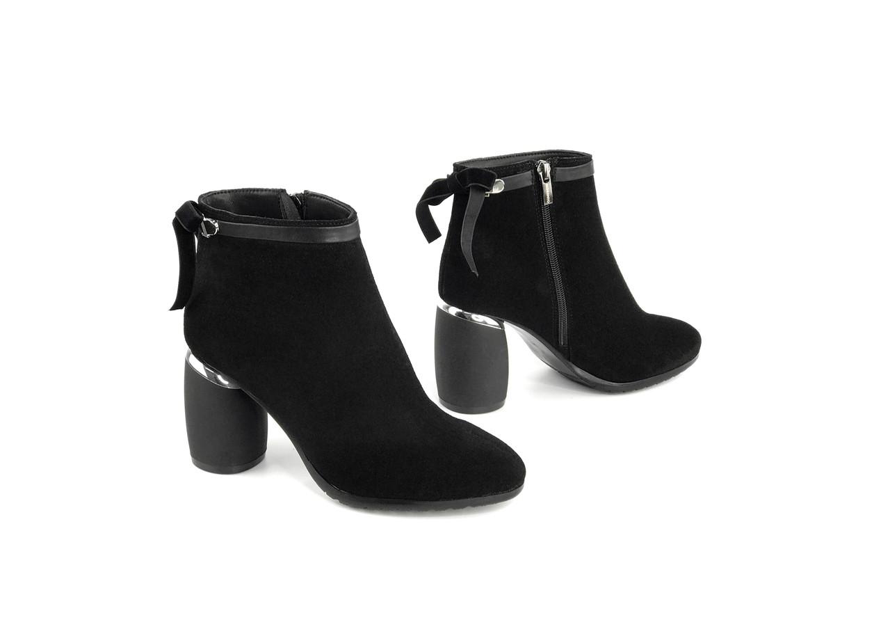 e17090ae4 Женские ботинки 1680-878/0 MORENTO (черные, натуральная замша, байка,  весна/осень)
