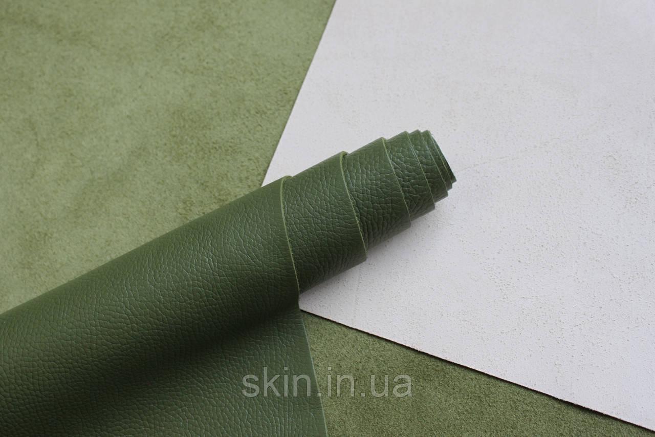 Натуральная кожа для кожгалантереи и обуви светло-зеленого цвета, толщина 1.5 мм, арт. СК 2235