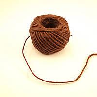 Канат джутовый декоративный коричневый 1,5 мм бобина 50 м, фото 1