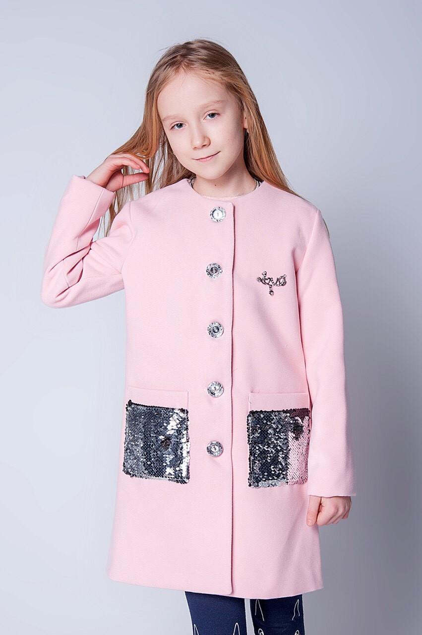 Красивое модное пальто на девочку с пайетками 128-146