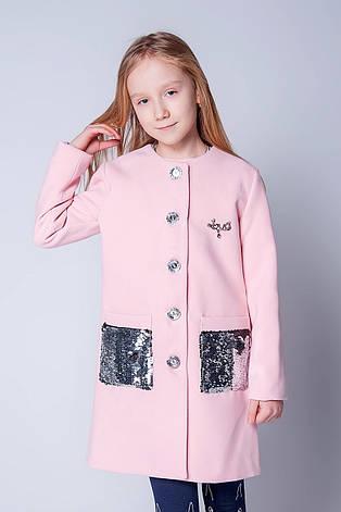 Красивое модное пальто на девочку с пайетками 128-146, фото 2