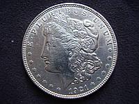 "Серебряная монета США, 1 доллар ""Моргановский доллар"" 1921 года"