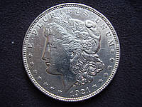 "Серебряная монета США, 1 доллар ""Моргановский доллар"" 1921 года, фото 1"