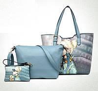 Сумка женская вместительная в наборе 3в1 голубого цвета с рисунком опт, фото 1