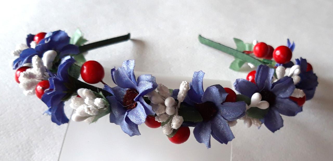Обруч веночек ручной работы, синие цветы