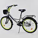 """Дитячий двоколісний велосипед срібний, підніжка, ручне гальмо Corso 20"""" дітям 6-9 років, фото 2"""