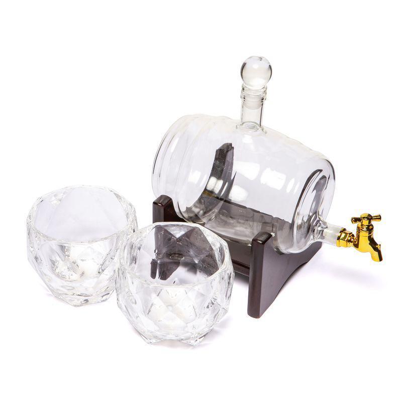 """Набор для виски """"Бочка-2"""" (штоф 1000 мл. + 2 стакана """"Діамант"""")"""