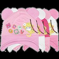 Детская тикотажная шапочка на завязках, ТМ Аника, р.48-50, Украина