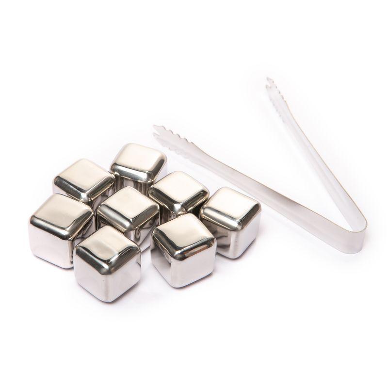 Камни для виски кубики 8 шт. с пинцетом металлические набор