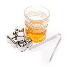 Камни для виски кубики 8 шт. с пинцетом металлические набор, фото 3