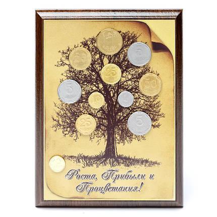 Денежное дерево с монетами картина-подарок из денег, фото 2